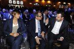 Il parterre Messaggero 140 anni Festa a Cinecitta'. Nella foto: Giulia Bongiorno, Ministro Giovanni Tria e Matteo Salvini. PAOLO CAPRIOLI/AG.TOIATI