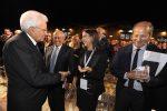 Il parterre e arrivo del Presidente Mattarella Messaggero 140 anni Festa a Cinecitta'. Nella foto: Mattarella saluta Francesco Gaetano e Azzurra Caltagirone. PAOLO CAPRIOLI/AG.TOIATI