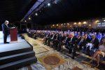 Il parterre e arrivo del Presidente Mattarella Messaggero 140 anni Festa a Cinecitta'. Nella foto: Francesco Gaetano Caltagirone e platea. PAOLO CAPRIOLI/AG.TOIATI