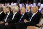 Sala relatori e ospiti Messaggero 140 anni Festa a Cinecitta'. Nella foto: Proietti e Gabrielli. PAOLO CAPRIOLI/AG.TOIATI