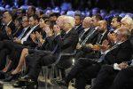Sala relatori e ospiti Messaggero 140 anni Festa a Cinecitta'. Nella foto: Francesco Gaetano Caltagirone, Mattarella. PAOLO CAPRIOLI/AG.TOIATI