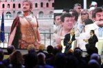 Sala relatori e ospiti Messaggero 140 anni Festa a Cinecitta'. Nella foto: Gigi Proietti e Alvaro Moretti. PAOLO CAPRIOLI/AG.TOIATI